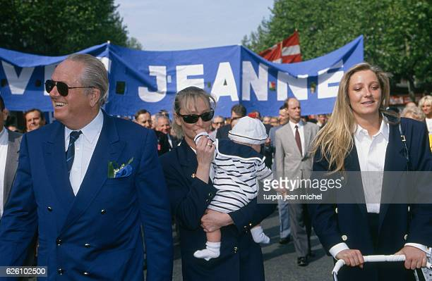 1st May march of the French far rightwing and nationalist politician founder and President of the National Front JeanMarie Le Pen with his daughters...