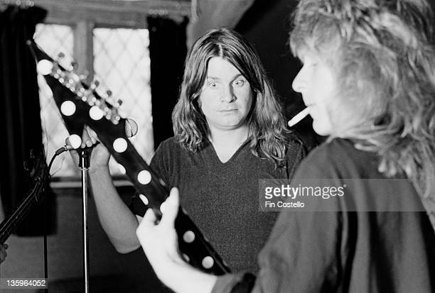 Ozzy Osbourne records the 'Blizzard of Ozz' album with guitarist Randy Rhoads at Ridge Farm Studio in West Sussex England in May 1980