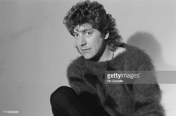 Robert Plant ex lead singer with Led Zeppelin posed wearing a mohair jumper in Islington London in May 1983