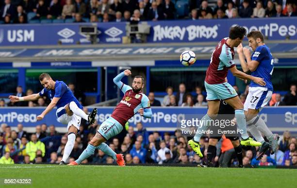 Morgan Schneiderlin of Everton takes a shot on goal during the Premier League match between Everton and Burnley at Goodison Park on October 1 2017 in...