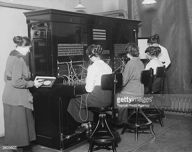 Switchboard operators at the telephone switchboard oft the House of Commons London
