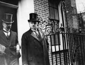 Lord Curzon the Foreign Secretary with Viscount Peel at No 10 Downing Street for a cabinet meeting