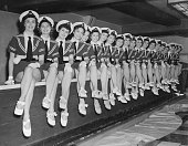 A chorus line the Tiller Girls waiting to go on stage at the London Palladium for a Royal Command Performance