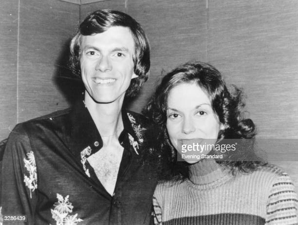 American brother and sister pop duo Richard and Karen Carpenter back stage at the London Palladium The Carpenters' first hit 'Close To You' in 1970...