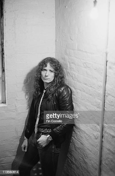 David Coverdale from Whitesnake poses at the Lyric Theatre in London during the filming of their video to 'Here I Go Again' in November 1982