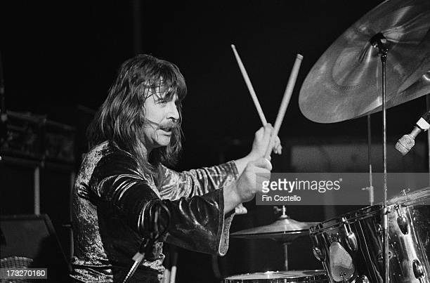 Drummer Lee Kerslake from rock group Uriah Heep performs live on stage at the Rainbow Theatre in London in November 1973