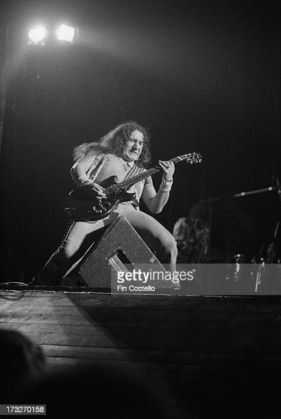 Guitarist Mick Box from rock group Uriah Heep performs live on stage at the Rainbow Theatre in London in November 1973