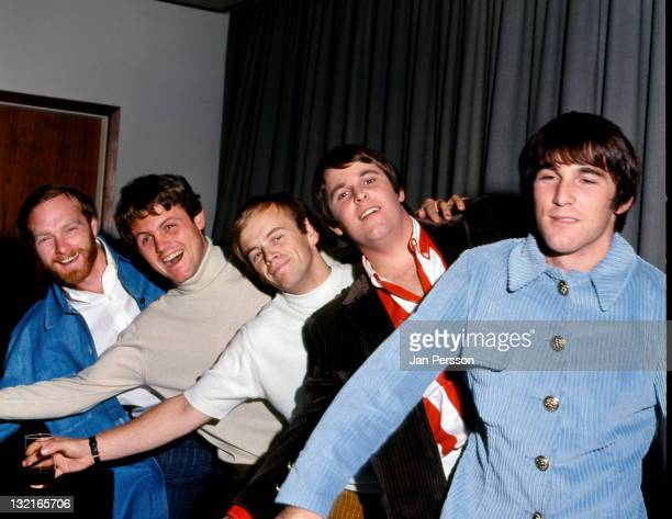 The Beach Boys pose together in Copenhagen Denmark during their European tour in November 1966 Left to right Mike Love Bruce Johnston Al Jardine Carl...