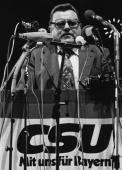 FranzJosef Strauss Chairman of the Christian Socialist Union tours and campaigns on behalf of Helmut Kohl candidate for the Chancellorship