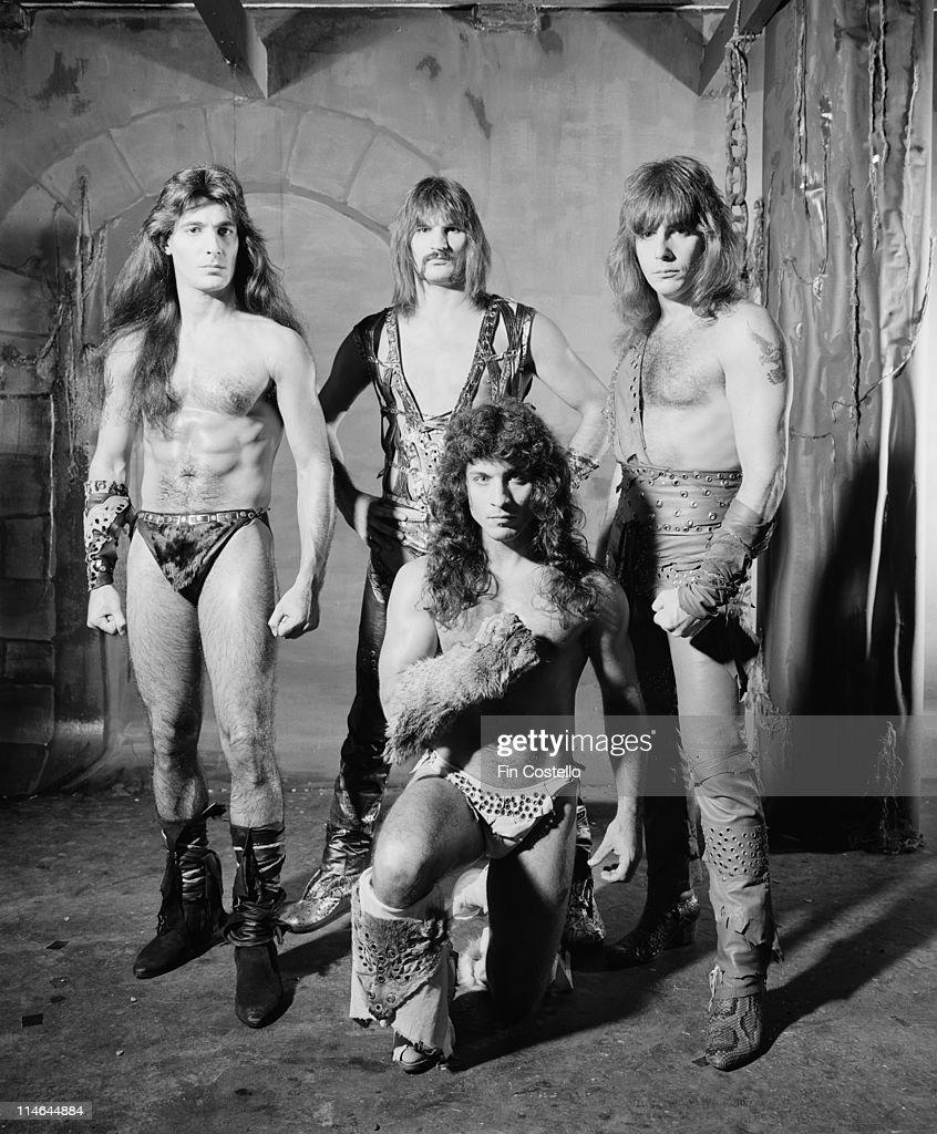American Heavy metal group Manowar posed in Islington, London in October 1984. Left to Right: Joey DeMaio, Scott Columbus, Eric Adams, Ross 'The Boss' Friedman.