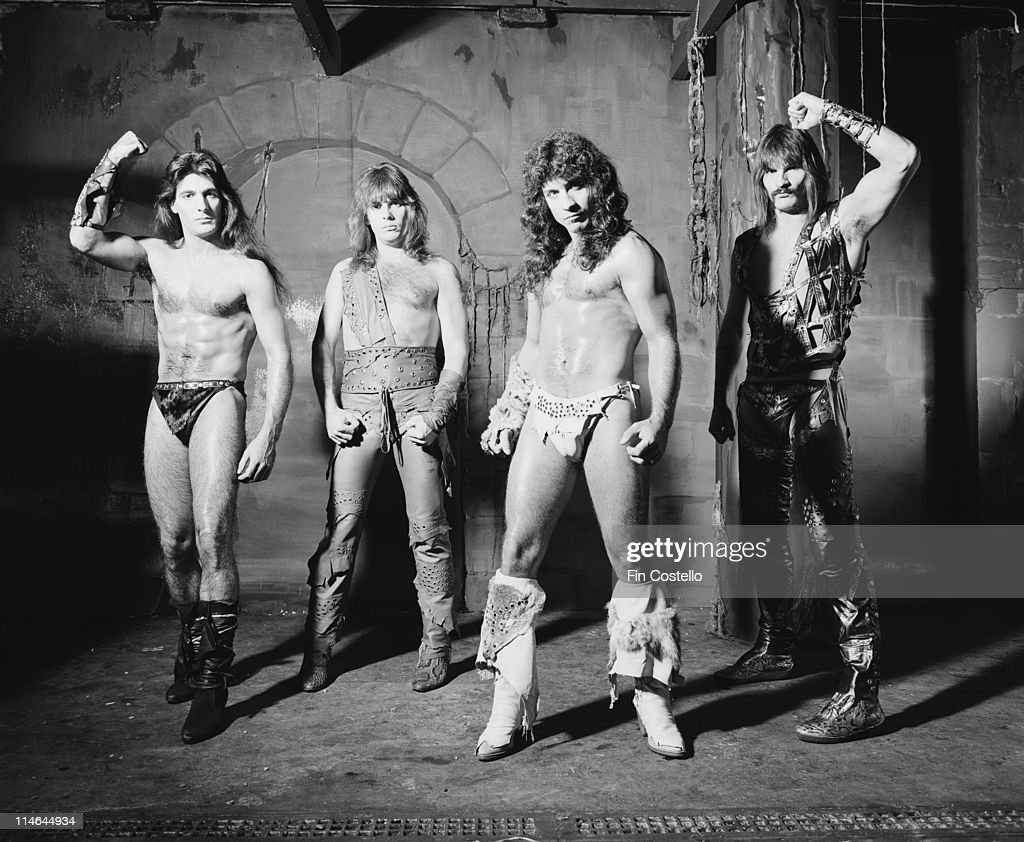 American Heavy metal group Manowar posed in Islington, London in October 1984. Left to Right: Joey DeMaio, Ross 'The Boss' Friedman, Eric Adams and Scott Columbus.