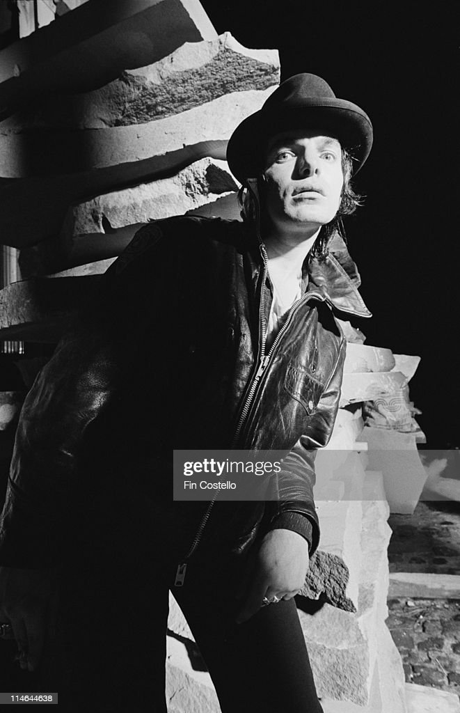 Brian James from The Lords Of The New Church posed in a stonemason's yard in Islington, London in October 1984.