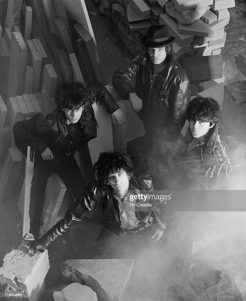 Post punk group The Lords Of The New Church posed in a stonemason's yard in Islington, London in October 1984. Clockwise from top: Brian James, Nicky Turner, Stiv Bators (1949-1990), Dave Tregunna.