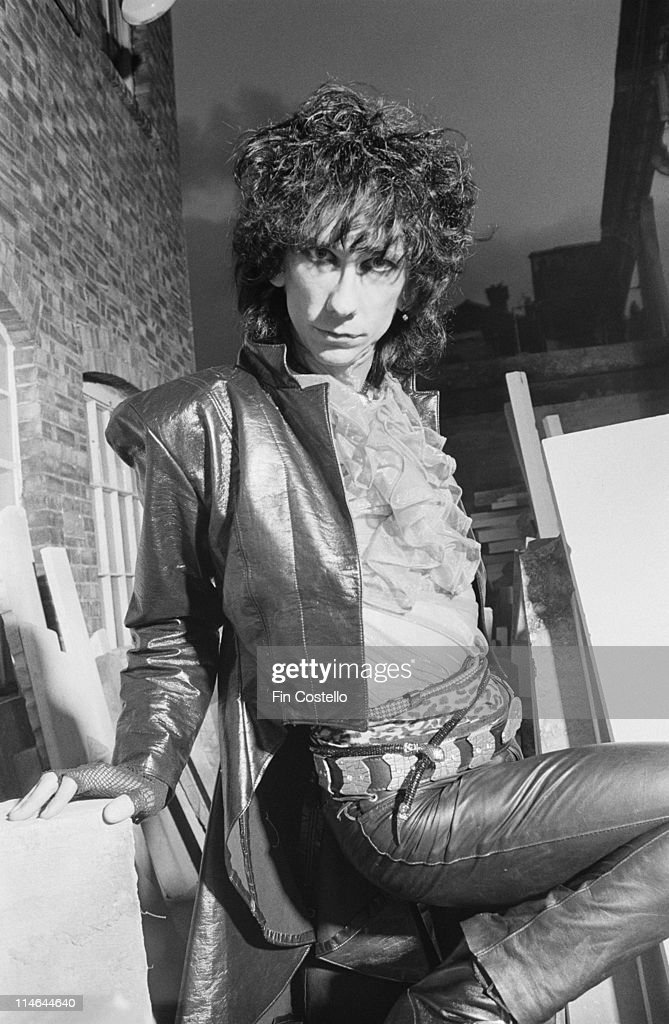 Stiv Bators from The Lords Of The New Church posed in a stonemason's yard in Islington, London in October 1984.