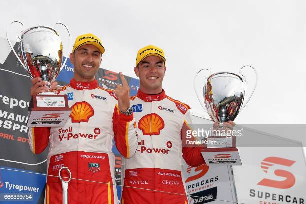 1st place Fabian Coulthard driver of the Shell VPower Racing Team Ford Falcon FGX and 2nd place Scott McLaughlin driver of the Shell VPower Racing...