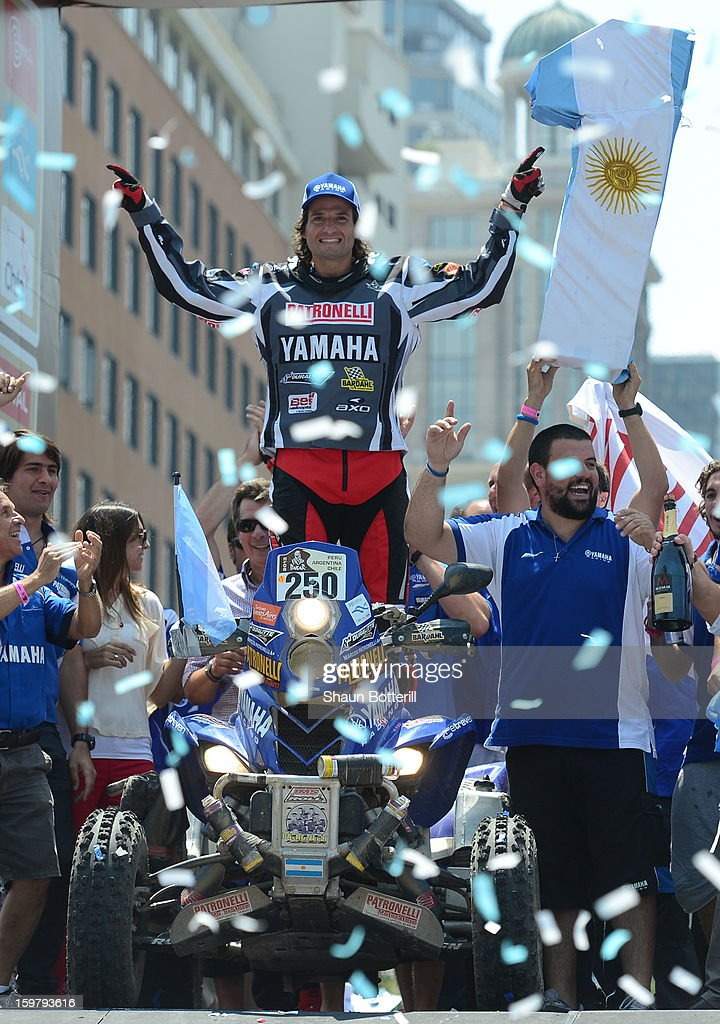 1st place in Quads Marcos Patronelli of Yamaha Argentina celebrates during the podium presentations at the end of the 2013 Dakar Rally on January 20, 2013 in Santiago, Chile.