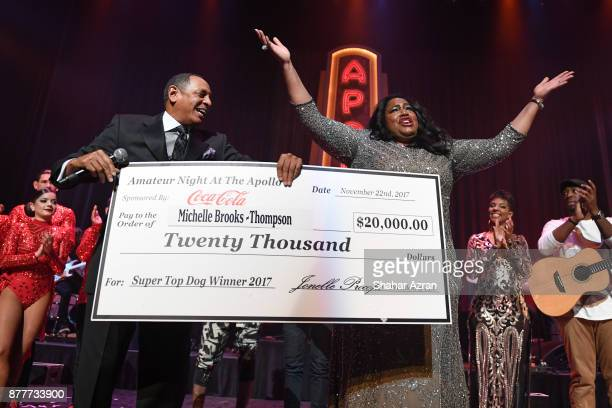 1st Place Winner Michelle BrooksThompson with Amateur Night Producer Marion J Caffey during Amateur Night At The Apollo Super Top Dog at The Apollo...