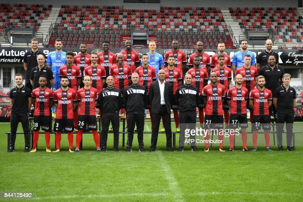 physiotherapist Charly Pradeau Guingamp's SouthAfrican midfielder Lebogang PhiriGuingamp's Portuguese defender Pedro Rebocho Guingamp's French...