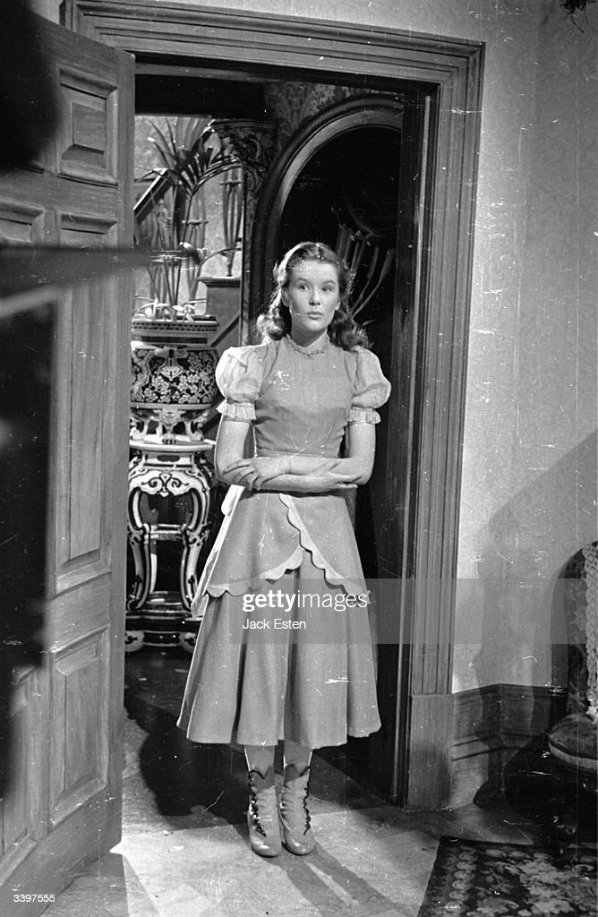 British child actress Sally Ann Howes appears in her fourth film, 'Pink String and Sealing Wax', at Ealing Studios, London. Original Publication: Picture Post - 2020 - Her Fourth Film At Fourteen - pub. 1945