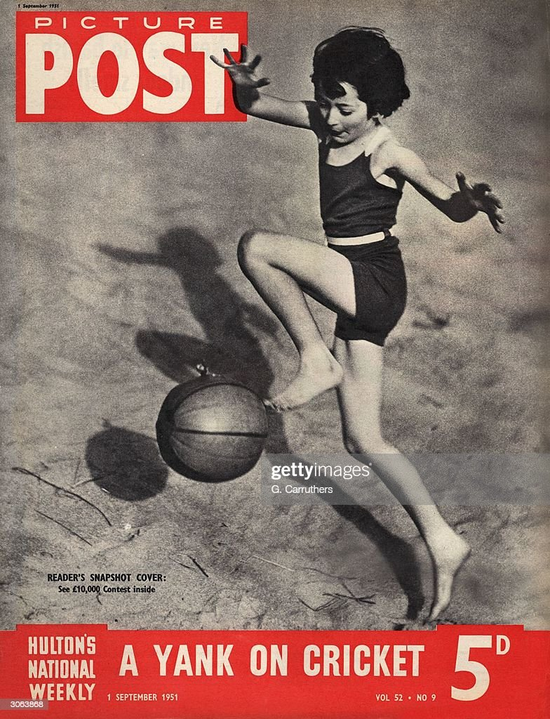 A little girl playing with a beach ball. This picture earned a full cover fee for its photographer in the Picture Post Snapshot Competition. The headline beneath reads 'A Yank on Cricket'. Original Publication: Picture Post Cover - 5583 - ?10,000 Snapshot Contest - pub. 1951