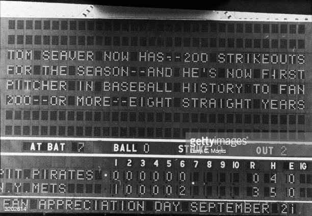 View of the message 'TOM SEAVER NOW HAS 200 STRIKEOUTS FOR THE SEASON AND HE'S NOW FIRST PITCHER IN BASEBALL HISTORY TO FAN 200 OR MORE EIGHT...