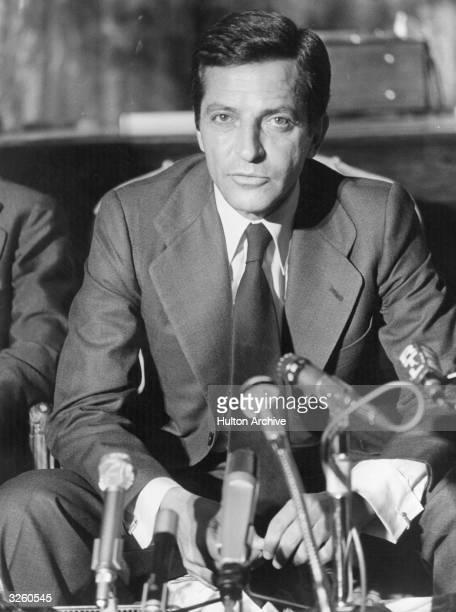 Adolfo Suarez the Spanish statesman holding a press conference in Paris