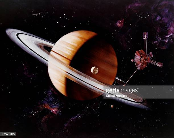 An artist's impression of the Pioneer probe emerging from the shadow of Saturn after photographing the planet and its moon Titan Original Artwork...