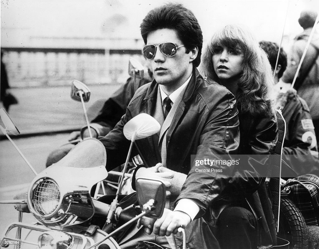 In a scene from the film 'Quadrophenia,' Lesley Ash is driven along the esplanade by her mod boyfriend.
