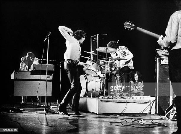 American rock group The Doors perform on stage in Denmark in September 1968 Left to right Ray Manzarek Jim Morrison John Densmore and Robbie Krieger
