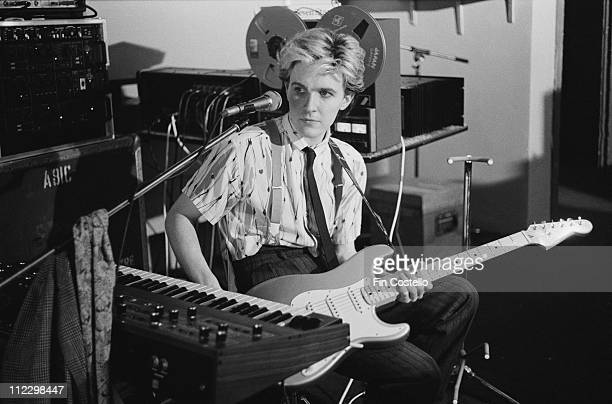 David Sylvian from Japan plays a Fender stratocaster guitar at Nomis Studios in London in September 1982