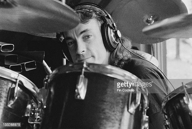 Drummer Neil Peart from Canadian progressive rock band Rush recording their album 'Permanent Waves' at Le Studio Morin Heights Quebec Canada in...