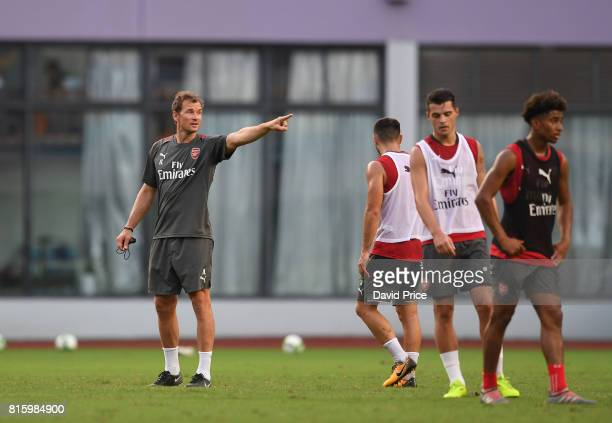 1st team coach Jens Lehmann during an Arsenal Training Session at Yuanshen Sports Centre Stadium on July 17 2017 in Shanghai China