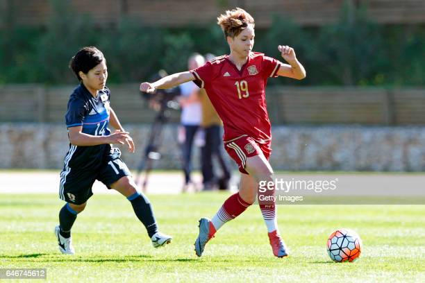 Yu Nakasato of Japan Women challenges Amanda Sampedro Bustos of Spain Women during the match between Japan v Spain Women's Algarve Cup on March 1st...