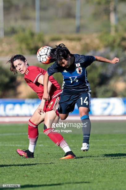 Yu Nakasato of Japan Women challenges María Victoria Losada Gómez of Spain Women during the match between Japan v Spain Women's Algarve Cup on March...