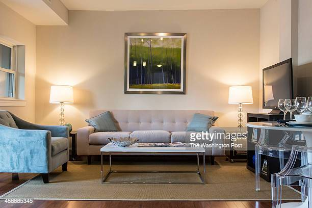 The Living Area in The Two Bedroom Model at The Clayton on May 1 2014 in Washington DC