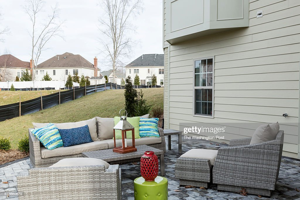 Walk Out Patio at the Lynhurst Model at Hickory Falls on March 1 2016 in Woodbridge Virginia