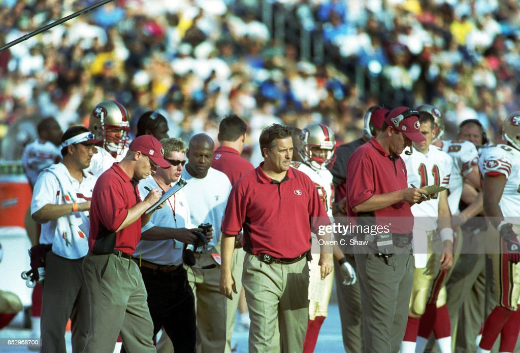 Steve Mariucci head coach of the SAn Francisco 49ers against the San Diego Chargers at Jack Murphy Stadium circa 2002 in San Diego,California.