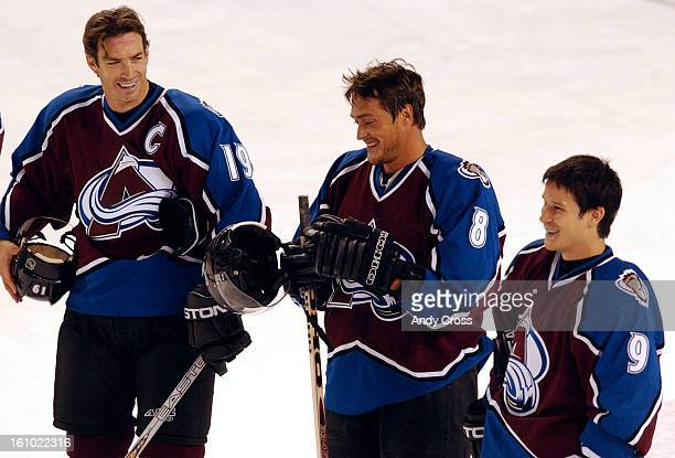 COSEPTEMBER 16TH 2003Avalanche players 1st line Joe <cq> Sakic Teemu <cq> Selanne <cq> and Paul <cq> Kariya before the singing of the national anthem...