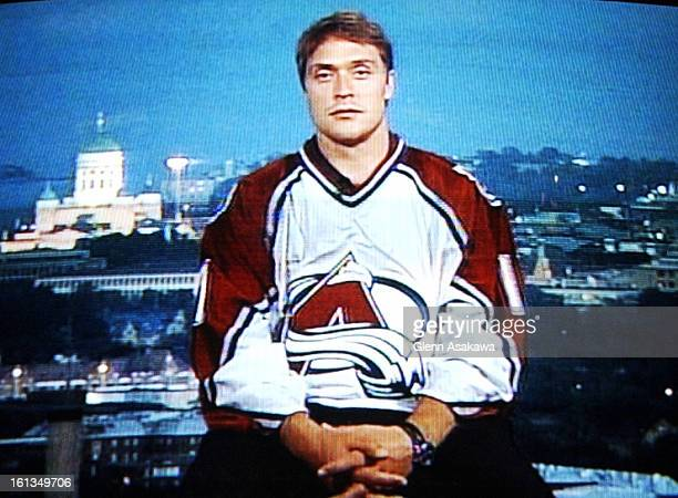 DENVER CO JULY 3 2003Teemu <cq> Selanne <cq> joins a press conference announcing his arrival to the Colorado Avalanche hockey team live via satelite...