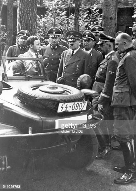 *20041889German dictator in 'Wolfsschanze' military headquarters in East Prussia attending the presentation of an amphibian vehicle by Ferdinand...