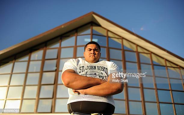 St John Bosco offensive lineman Damien Mama photogrpahed at his his school in Bellflower