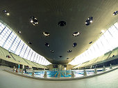 The London Aquatics Centre is an indoor facility with two swimming pools and a diving pool in Queen Elizabeth Olympic Park on April 9 2013 in London...