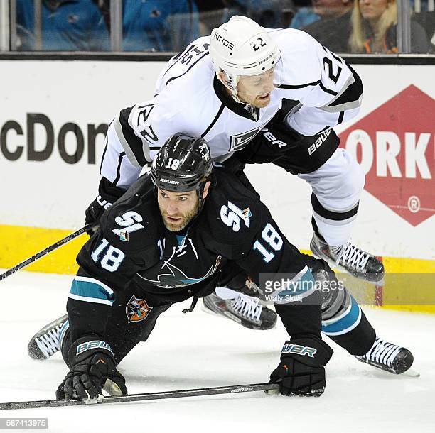 Kings Trevor Lewis and Sharks Mike Brown collide in the 1st period in Game 5 of the Western Conference Stanley Cup playoffs in San Jose Saturday
