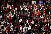 CLEVELAND OHIOJULY 21 2016On the final night of the Republican National Convention in Cleveland there are open seats as attendees bow their heads...