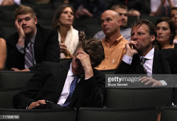 203rd overall pick Max Everson by the Toronto Maple Leafs checks his phone shortly before being drafted by the Maple Leafs during day two of the 2011...