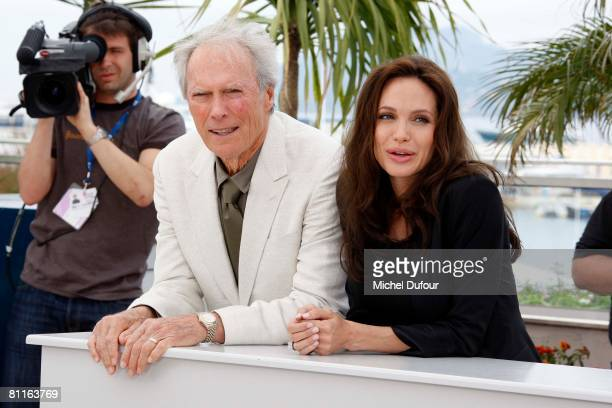 Clint eastwood and Angelina Jolie attends the Changeling Photocall at Palais des Festivals during the 61st International Cannes Film Festival on May...