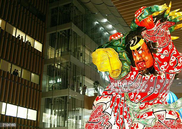 A 20metretall lantern doll 'GoshoGawara TachiNeputa' is displayed at the Tokyo's central shopping mall MaruBiru 22 June 2003 Aomori prefecture is...