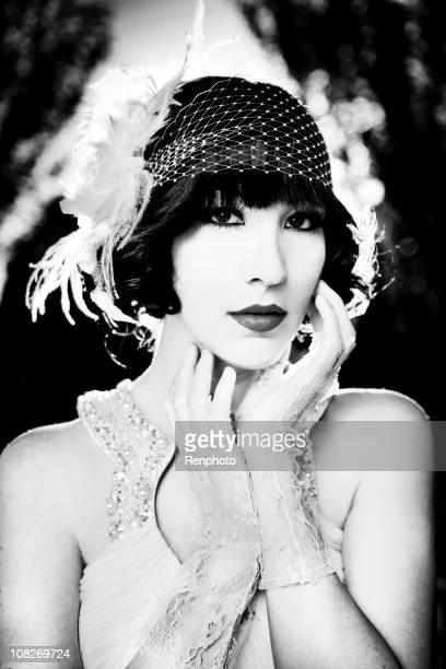 20s style black and white portrait