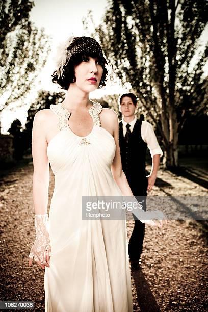 20s style bridal portrait