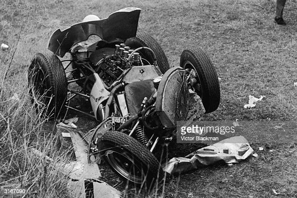 The wreckage of the experimental LotusClimax V8 driven by British racing driver Stirling Moss after a serious crash at Goodwood Moss survived the...